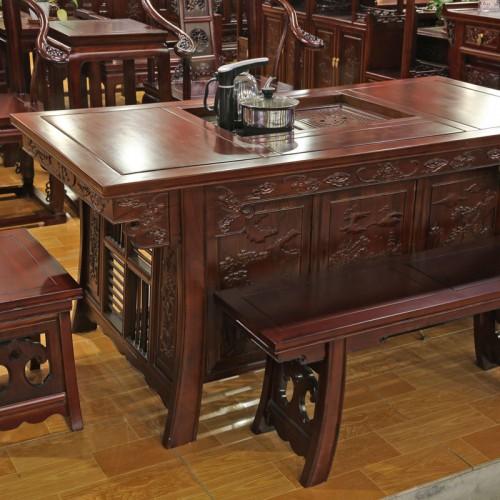 榆木古典将军台茶桌套