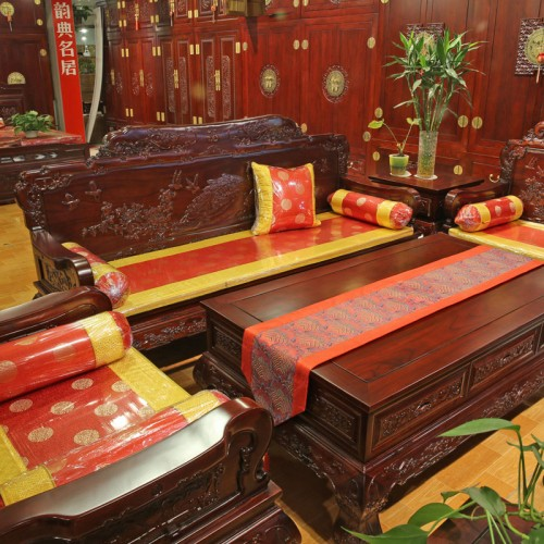 中式古典客厅榆木精雕组合沙发06