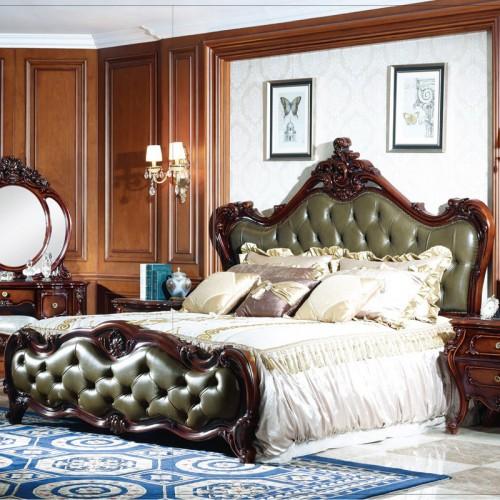奢华法式雕花双人床套
