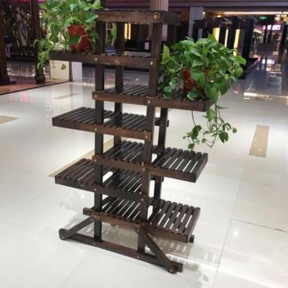 碳化木阳台实木落地式盆栽室内客厅多层架子多肉省空间拆装款