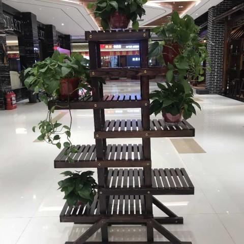 碳化木阳台实木落地式盆栽室内客厅多层花架子多肉花盆架声空间 (20播放)