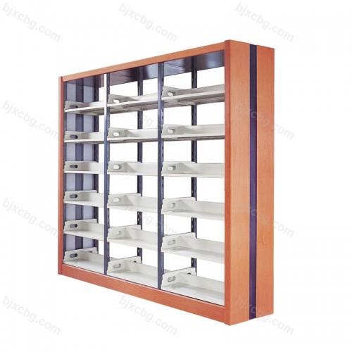 图书馆校用钢木双柱面书架SJ-04