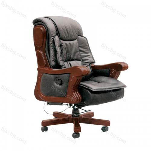 现代真皮可躺老板椅牛皮实木大班椅08