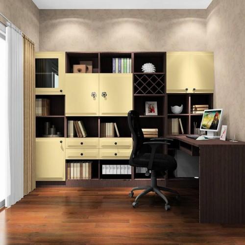 简约现代书桌书柜一体11