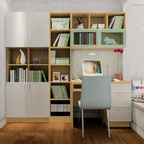 书房定制书桌书柜一体14