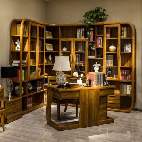 现代新中式组合书柜书桌19