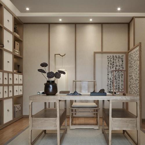 新中式书桌书柜定制家具25