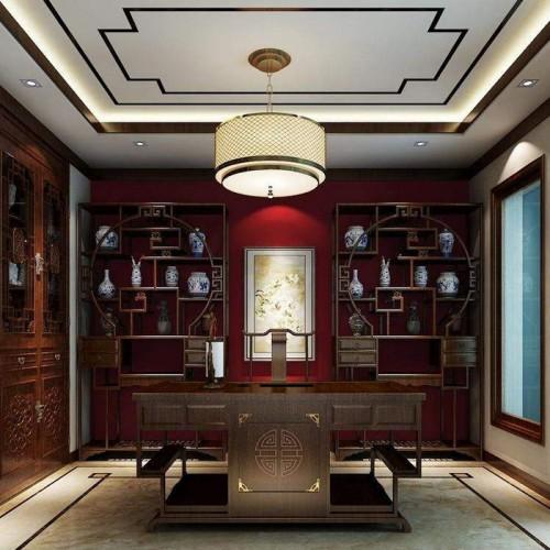 中式古典书桌书柜定制家具26
