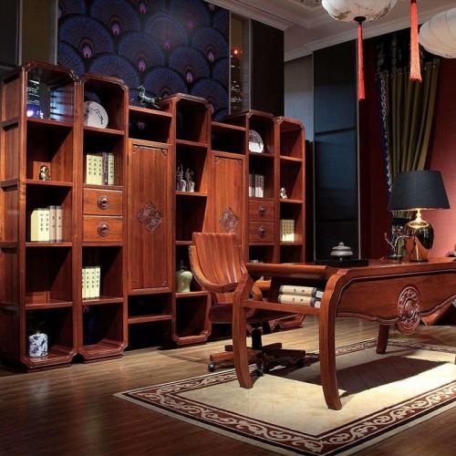 新中式书桌书柜组合28