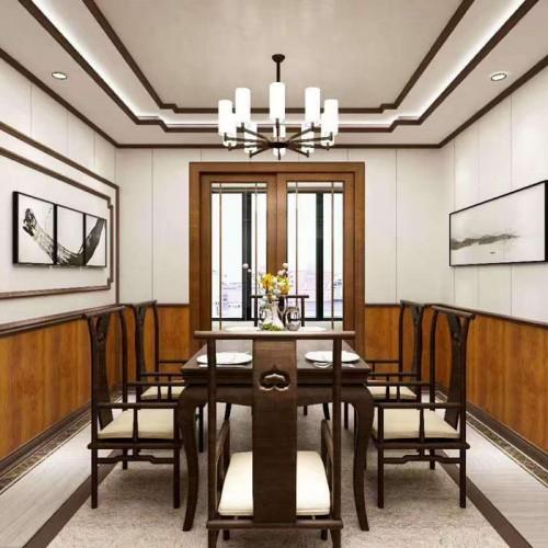 全屋定制中式餐厅护墙板09