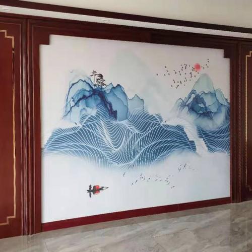 客厅背景禅意画护墙板21