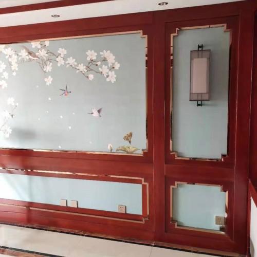 新中式客厅背景护墙板23