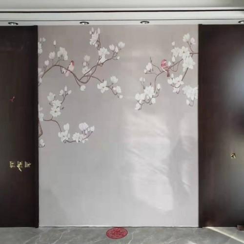 玉兰花鸟背景护墙板26