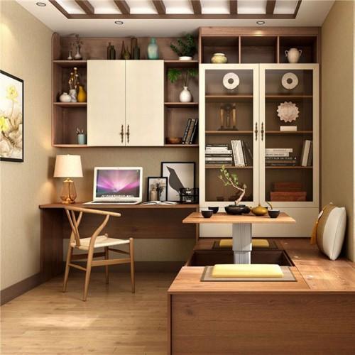 定制书房榻榻米地台书桌书柜29