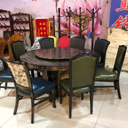 美式乡村酒店圆餐桌椅22