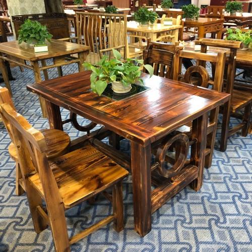 快餐桌椅烧烤农家乐大排档碳化桌椅17