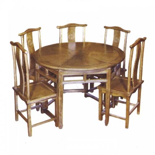 仿古实木圆餐桌官帽椅07