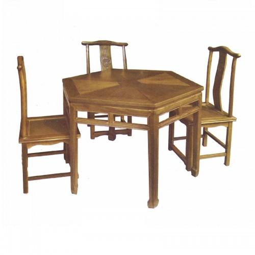 仿古实木六角型餐桌餐椅08