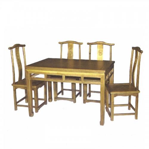仿古实木简约餐桌餐椅09