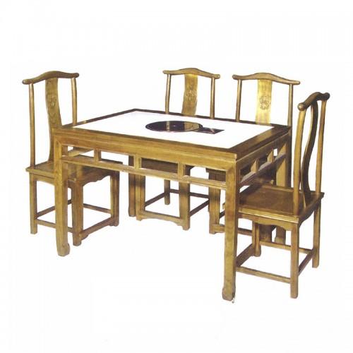 仿古实木火锅桌餐椅10