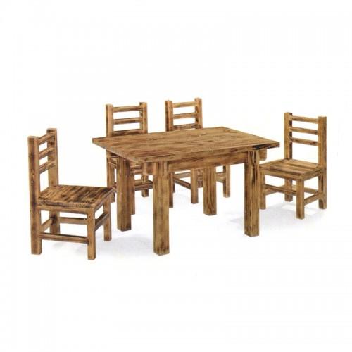 简约松木长方形餐桌椅05
