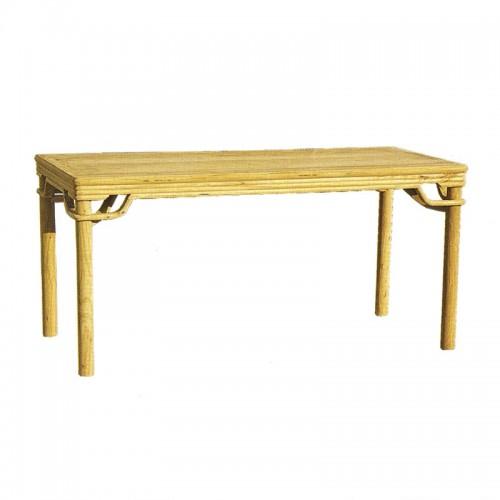 榆木简约长方形餐桌01