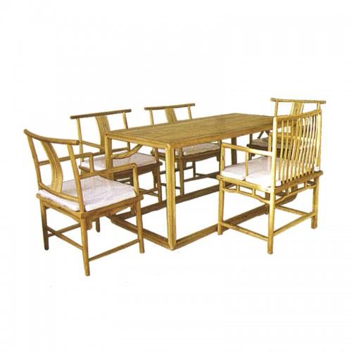 古典榆木长方形餐桌餐椅02