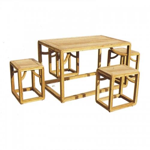 榆木中式餐桌方凳03