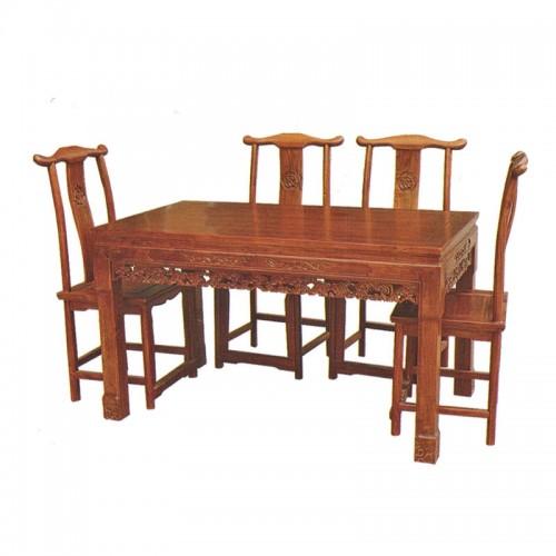 古典榆木长方形餐桌餐椅09