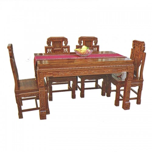 明清古典榆木餐桌象头餐椅10
