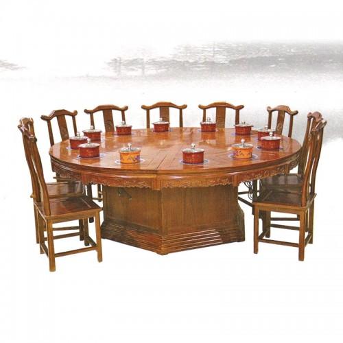 酒店榆木火锅餐桌餐椅11