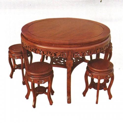酒店古典榆木圆餐桌餐椅12
