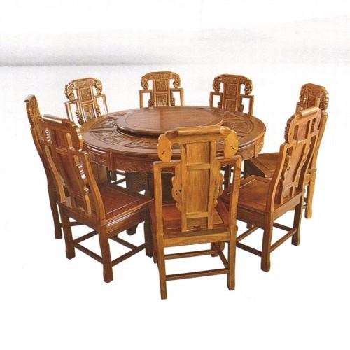 榆木古典圆餐桌餐椅13