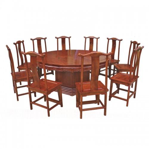 中式仿古榆木圆餐桌椅14
