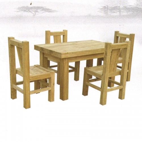 简约榆木饭店餐桌餐椅15