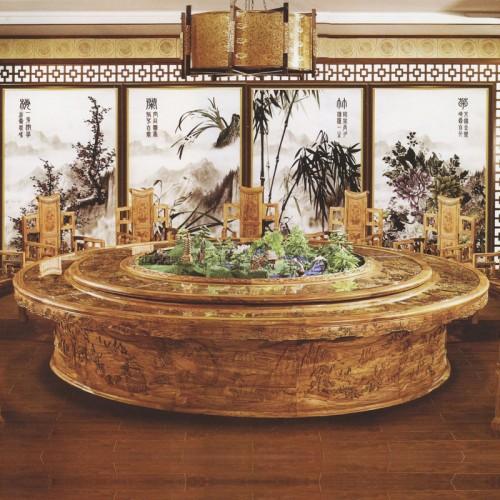 酒店实木圆形餐桌餐椅27