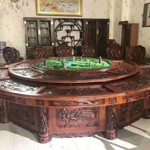 酒店高档雕刻电动圆餐桌218