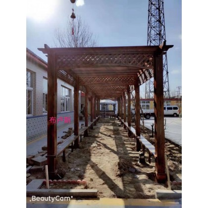 香和布卢斯长廊走廊碳化木连廊防腐木廊架小院别墅定制亭子