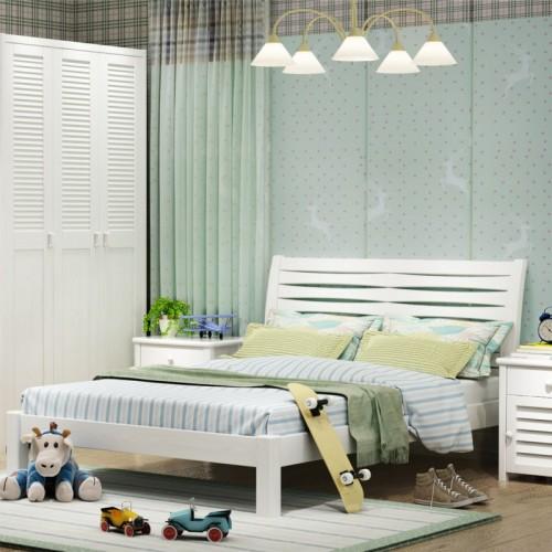 儿童套房 白色阿波罗系列单人床书桌三门衣柜 儿童实木套房_阿波罗