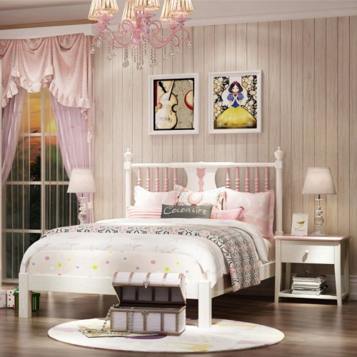 儿童公主系列套房 白色公主套房单人床三门衣柜书桌_安娜08