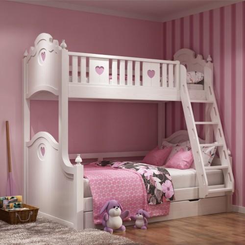 粉色系女童上下铺 女童白雪公主扶梯高低床_白雪公主扶梯高低床