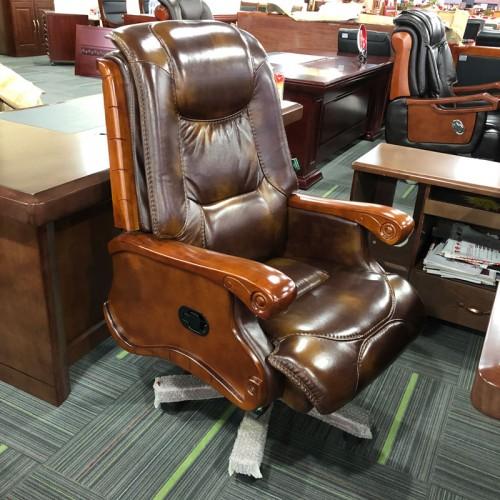 可躺转椅升降实木总裁椅 04
