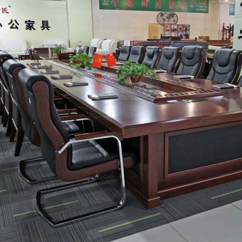 办公家具油漆实木贴皮职员会议桌03