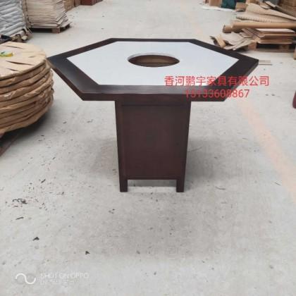 仿古家具六角火锅桌箱式对角1.2米六人台