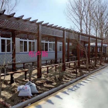 樟子松碳化长廊图片批发户外家具走带座板款式厂家直销防腐木实木