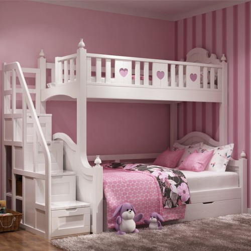 女童白色上下铺 松木高低床 女孩白雪公主高低床带楼梯柜_白雪公主高低床带楼梯柜