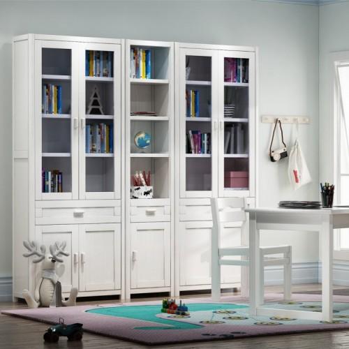 儿童房书桌书柜 松木书桌书柜 白色实木儿童书桌书柜_百味书屋02