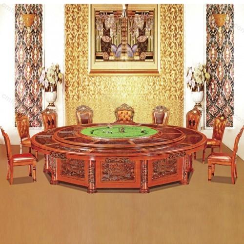 酒店仿古圆桌宴会餐桌D-011