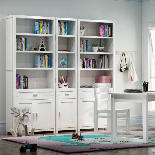 儿童房书架书桌 白色实木儿童书桌书架_百味书屋03