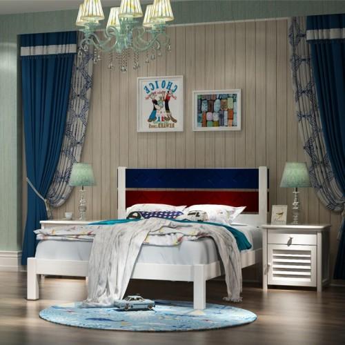 男童卧室套房 男童简易白色单人床推拉门衣柜+书桌_海洋之星